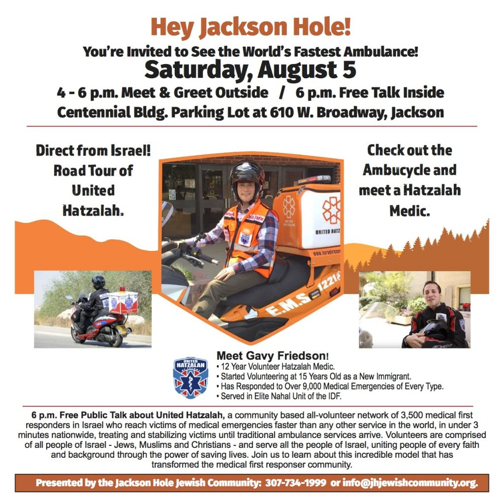 United Hatzalah Motorcycle Medics from Israel @ JHJC Parking lot and Center | Jackson | Wyoming | United States